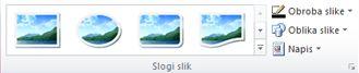 Skupina »Slogi slik« na zavihku »Orodja za slike« v programu Publisher 2010