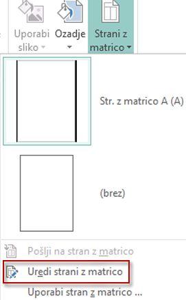 Urejanje strani z matrico v programu Publisher 2013.