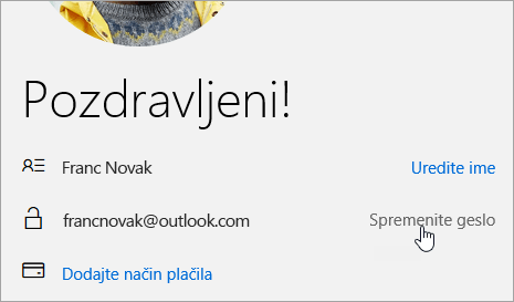 Posnetek zaslona gumba »Spremeni geslo«.