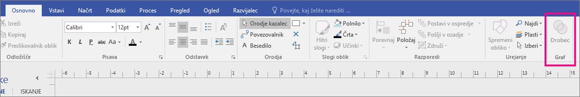 Na zavihku »Osnovno« programa Visio se v območju »Graf« prikaže »Fragment«.