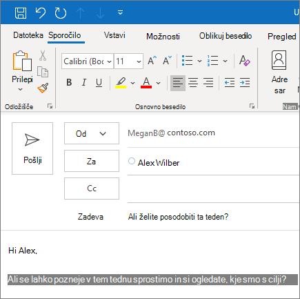 Ustvarjanje in pošiljanje e-poštnega sporočila