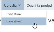 Zaslonski posnetek možnosti »Izvozi stike« v meniju »Upravljanje«