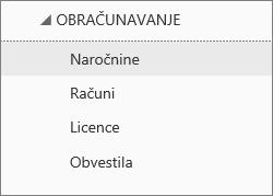 Posnetek zaslona menija »Obračunavanje« v Skrbniškem središču za Office 365 z izbrano možnostjo »Naročnine«.