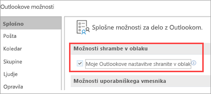 Show's Outlook setting options
