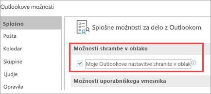 Prikazane so možnosti za nastavitev Outlooka