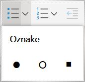 Meni z označenim seznamom v storitvi OneNote Online.