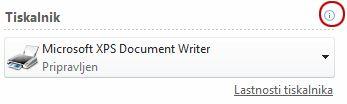 Stanje tiskalnika v programu Publisher