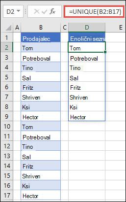 Funkcija UNIQUE v uporabi za razvrstitev seznama imen