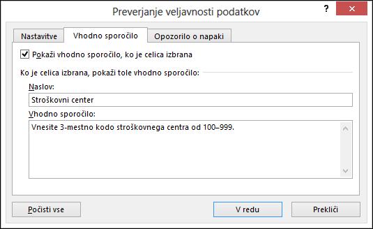 Nastavitve vhodnega sporočila v pogovornem oknu preverjanja veljavnosti podatkov