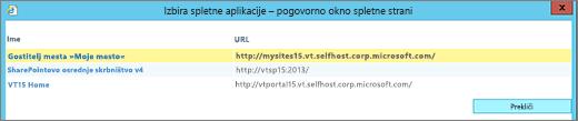 Na strani »Spreminjanje spletne aplikacije« izberite spletno aplikacijo