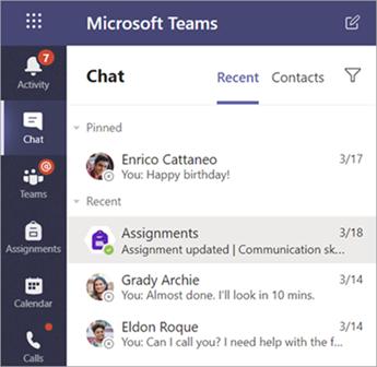 Zasebni klepeti študenta v aplikaciji Teams