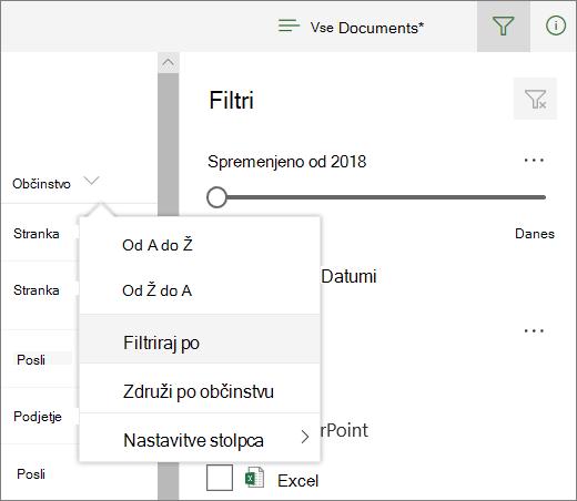 Kliknite» filtriranje «, da odprete podokno» filtriranje «