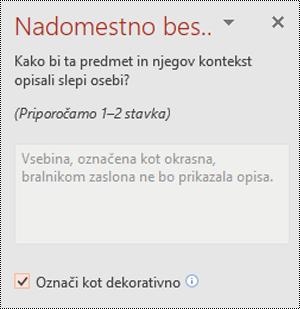 Potrditveno polje» označi kot dekorativno «, izbrano v PowerPointu za Windows