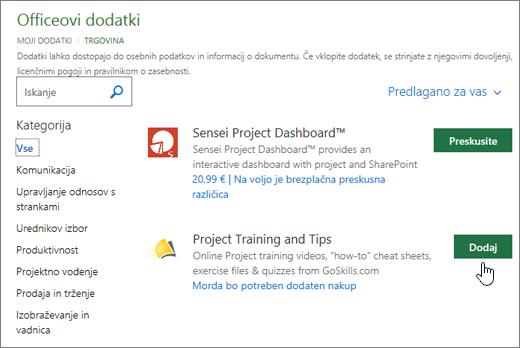 Posnetek zaslona strani Officeovih dodatkov v trgovini, kjer lahko izberete ali poiščite dodatek za projekt.