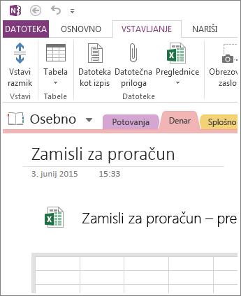 Vstavljanje nove preglednice neposredno na stran