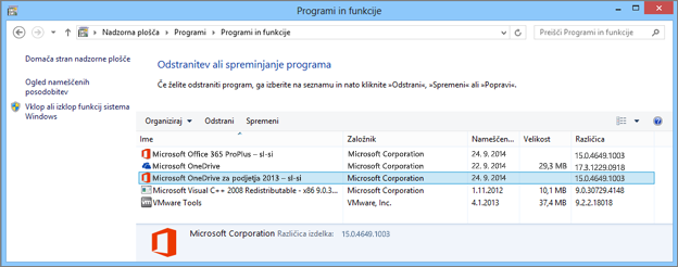Iskanje programa za sinhronizacijo storitve OneDrive za podjetja na nadzorni plošči v sistemu Windows