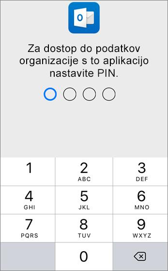 Nastavite PIN za dostop do podatkov organizacije