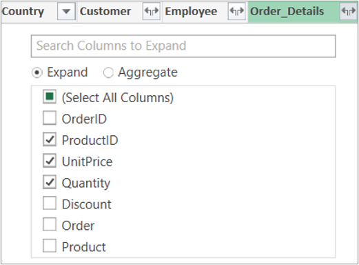 Razširitev povezave tabele »Order_Details«