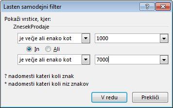 Pogovorno okno »Samodejni filter po meri«