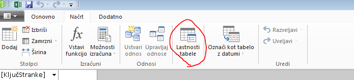 Trak v oknu PowerPivot, ki prikazuje ukaz »Lastnosti tabele«