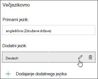 Urejanje jezika s funkcijo večjezičnosti v obrazcih Microsoft Forms
