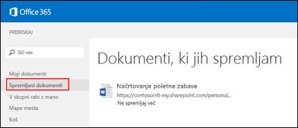 Posnetek zaslona dokumentov storitve OneDrive za podjetja, ki jih spremljate v storitvi Office 365.