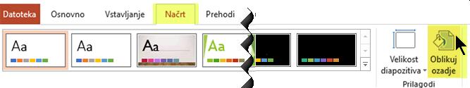 Gumb »Oblikuj ozadje«, ki je na zavihku »Načrt« na traku v PowerPointu