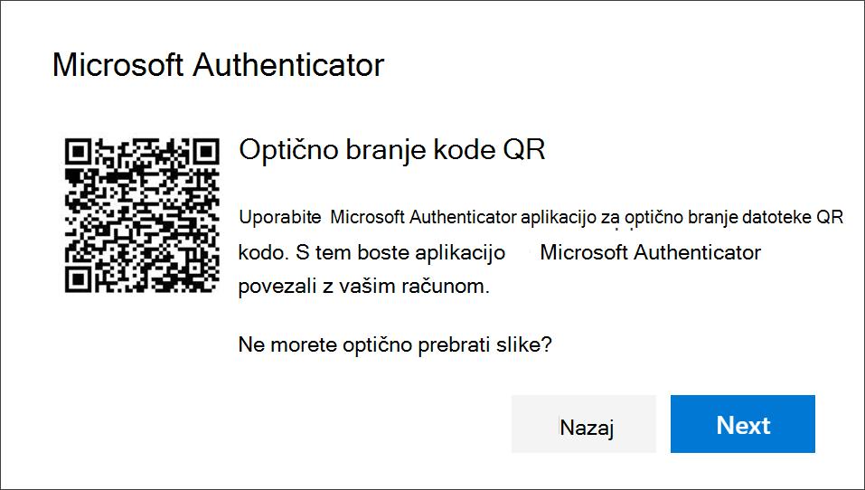 Optično branje kode QR Authenticator aplikacijo