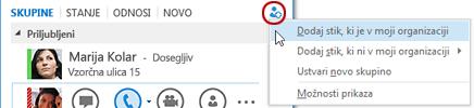 V glavnem Lyncovem oknu kliknite gumb »Dodajanje stika«.