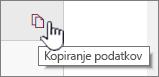 Če želite kopirati trenutne podatke spletnega gradnika, kliknite ikono Kopiraj podatke