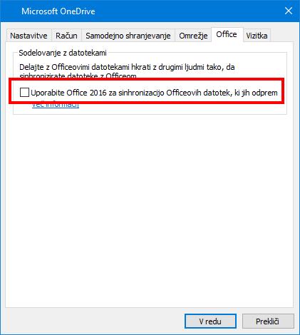 Zavihek »Office Upload« v nastavitvah storitve OneDrive