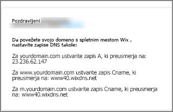 Na spletnem mestu Wix.com uporabite te nastavitve zapisa DNS.