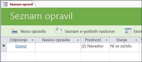 Obrazec »Seznam dogodkov« v Accessovi predlogi zbirke podatkov za opravila