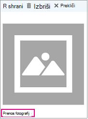 Prenos fotografij pogovorno okno z »Prenesi fotografije« označeno