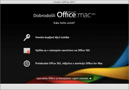 Posnetek zaslona pozdravne strani za Office za Mac 2011