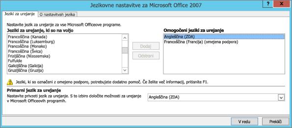 Jezikovne nastavitve za Office 2007
