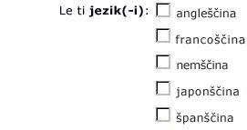 Potrdilna polja za angleščino, francoščino, nemščino, japonščino in španščino