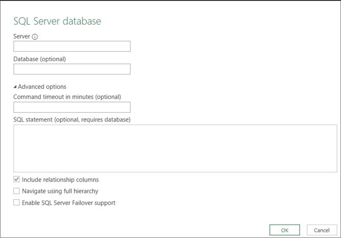 Pogovorno okno »Zbirka podatkov strežnika SQL Server«