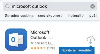 Tapnite ikono oblaka, da namestite Outlook