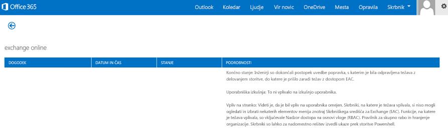 Slika nadzorne plošče s prikazom stanja storitve Office 365, iz katere razberemo, da je bila storitev Exchange Online obnovljena, podan pa je tudi vzrok za obnovitev.
