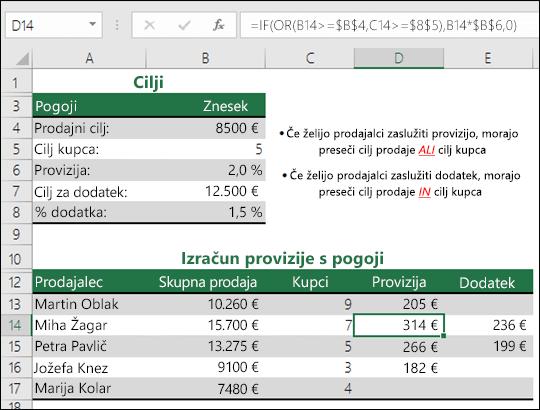 Primer uporabe funkcije IF in OR za izračun prodajne provizije.