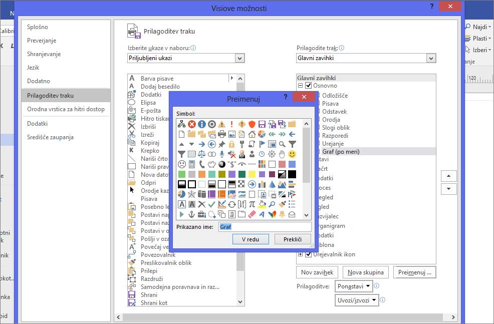 Kliknite ikono »Venn«, nato v polje »Prikazano ime« vnesite »Graf« in kliknite »V redu«.