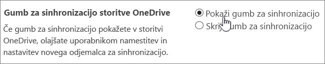 Skrbniške nastavitve za gumb za sinhronizacijo storitve OneDrive