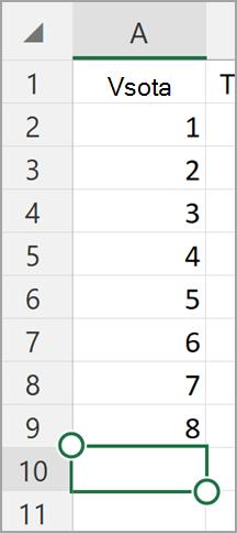 Windows tablet Excel Samodejna vsota