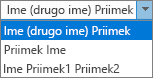 Možnosti Outlooka za razdelek Ljudje, ki prikazuje možnosti razvrstitve seznama po imenu in priimku.