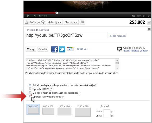 Povezava do videoposnetka na spletni strani YouTube