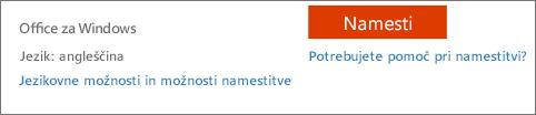 Možnosti jezika in namestitve za Office 365