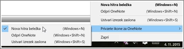 Posnetek zaslona sistemske vrstice z OneNotovimi možnostmi.