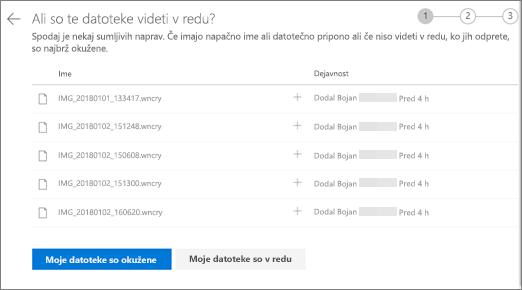 Posnetek zaslona strani ali te datoteke si desni strani zaslona na spletnem mestu storitve OneDrive