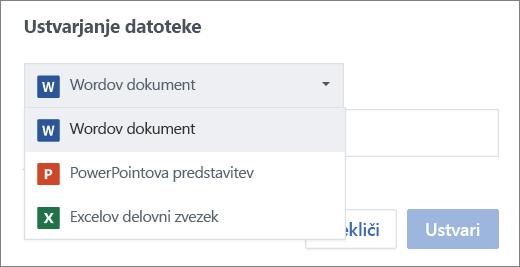 Ustvarjanje datoteke